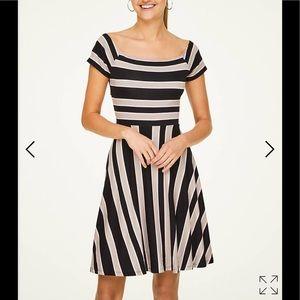 !   LOFT striped cross back flare dress